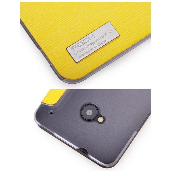 Чехол-книжка ROCK - Fashion Luxury Leather flip case для HTC One M7 Желтый