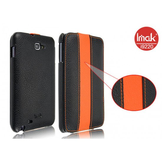 Чехол IMAK Genuine Leather Flip  для Samsung Galaxy Note - N7000 (черно-оранж)