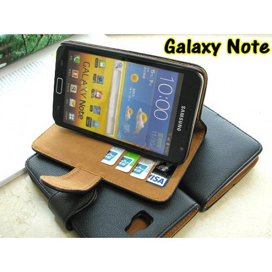 Чехол PU Leather  для  Samsung Galaxy Note - N7000 Черный