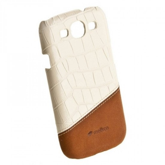 Накладка Melkco для Samsung Galaxy S3 i9300 Mix and Match Series - White Crocodile Print Pattern-Classic Vintage Brown