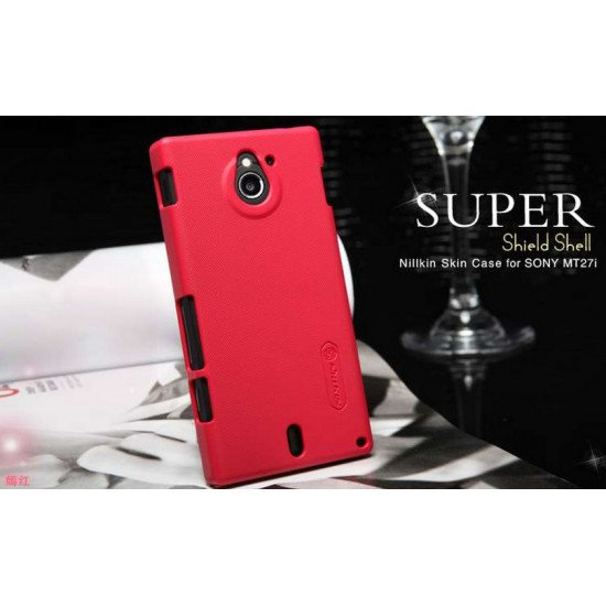 Чехол-накладка Nillkin Super Frosted Shield для Sony Xperia Sola MT27i Красный