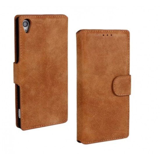 Чехол-книжка Nubuck PU Leather Case для Sony Xperia Z3 D6603 D6653 D6633 L55 Коричневый