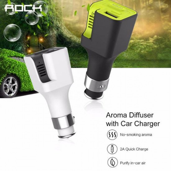 AЗУ ROCK  Aroma Diffuser With Car Charger 2Amax Белый